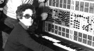 Teresa Rampazzi in 1976 at the Conservatory of Music in Padova in front of the ARP 2500 analog modular synthesizer. Photo by Luciano Menini